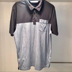 Travis Mathew Mens Polo Golf Shirt Large Gray Blk